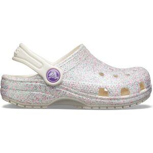 Dětské boty crocs classic glitter clog bílá 32-33